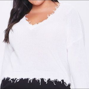 F21 Distressed White Sweater